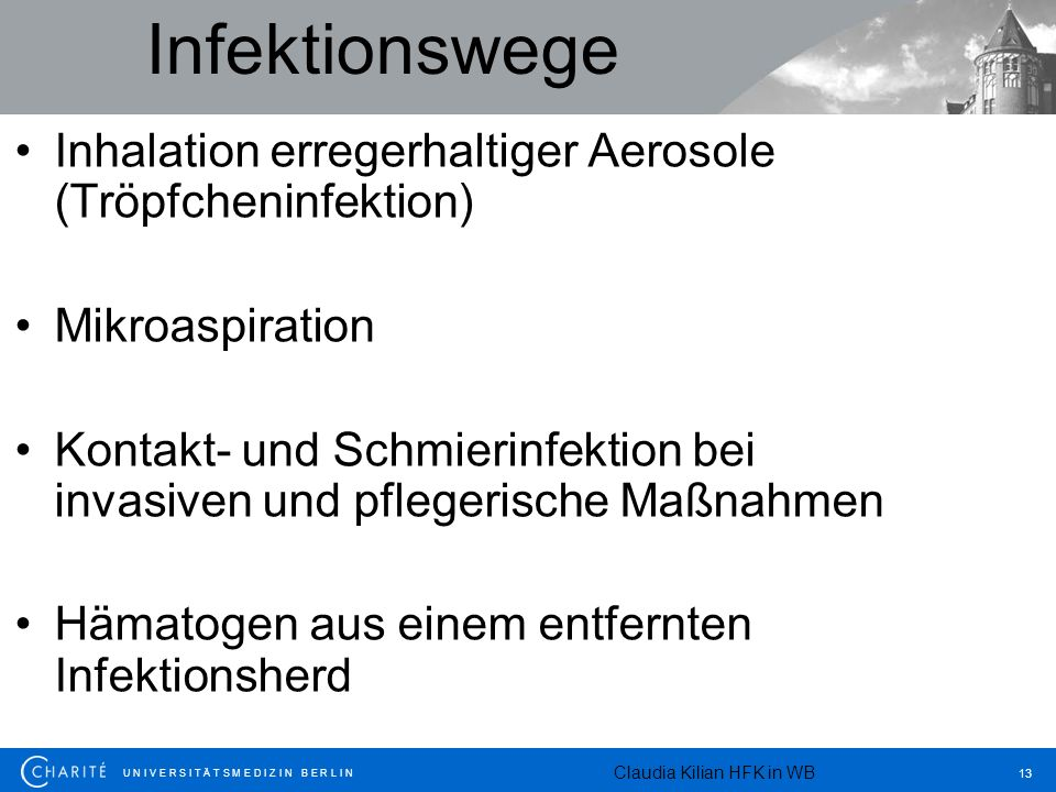Infektionswege Inhalation erregerhaltiger Aerosole (Tröpfcheninfektion) Mikroaspiration.