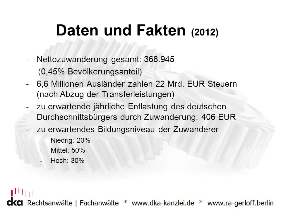 Daten und Fakten (2012) Nettozuwanderung gesamt: 368.945