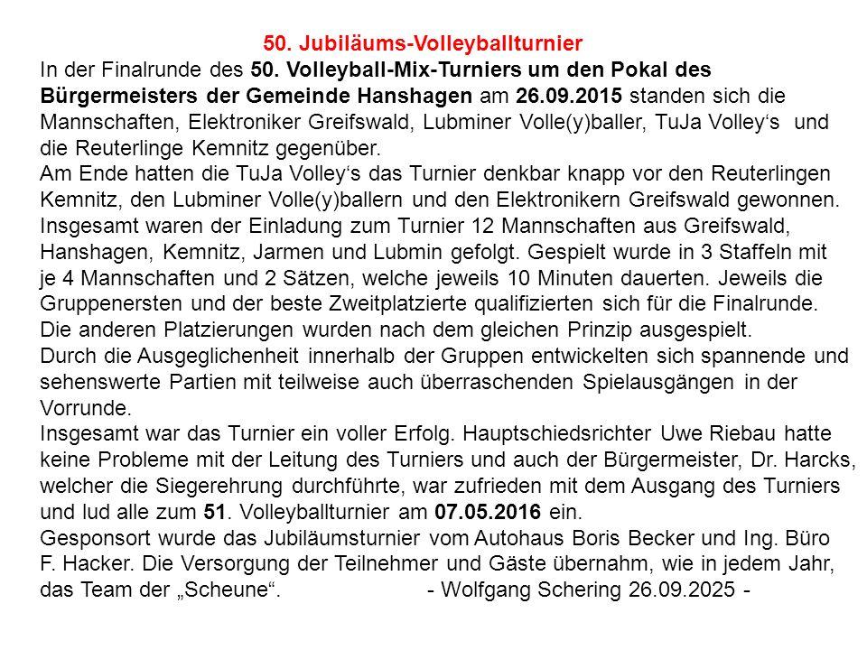 50. Jubiläums-Volleyballturnier