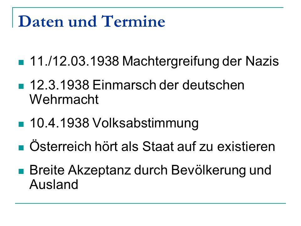 Daten und Termine 11./12.03.1938 Machtergreifung der Nazis