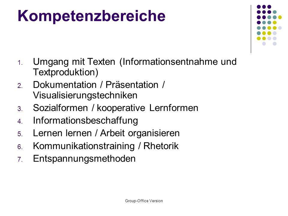 Kompetenzbereiche Umgang mit Texten (Informationsentnahme und Textproduktion) Dokumentation / Präsentation / Visualisierungstechniken.
