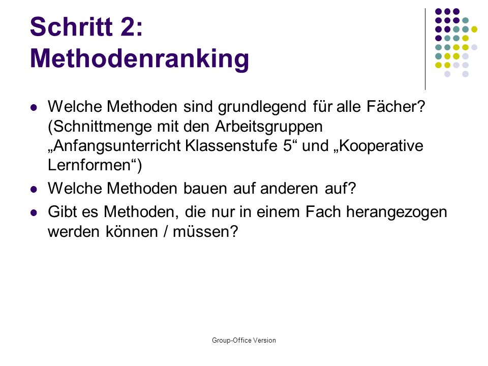 Schritt 2: Methodenranking