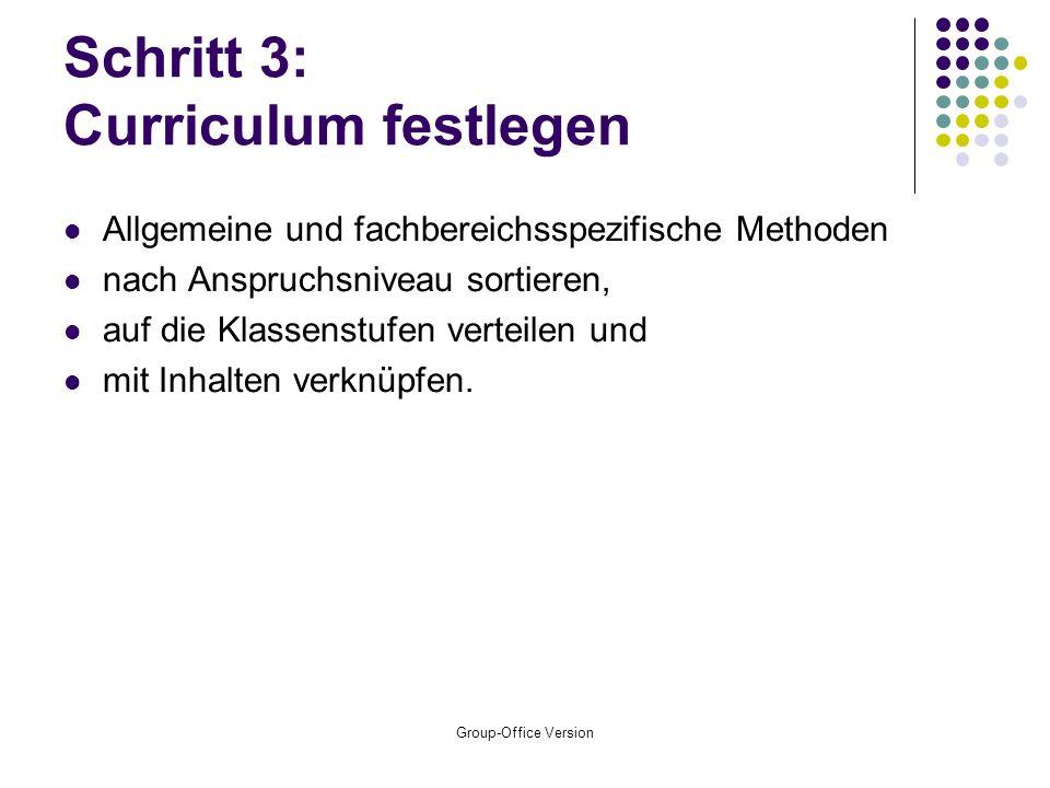 Schritt 3: Curriculum festlegen