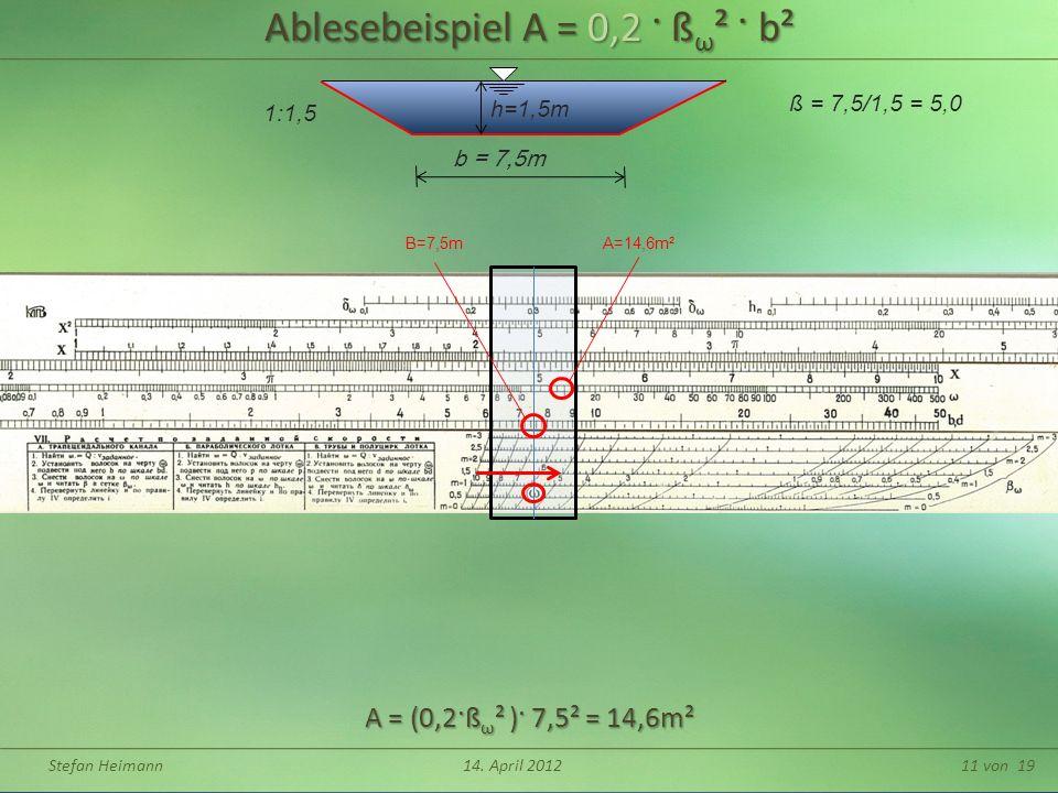 Ablesebeispiel A = 0,2 · ßω² · b²