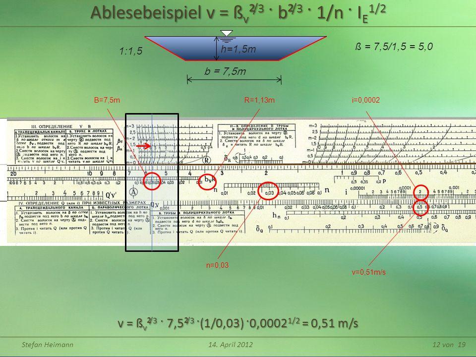 Ablesebeispiel v = ßv²/3 · b²/3 · 1/n · IE1/2