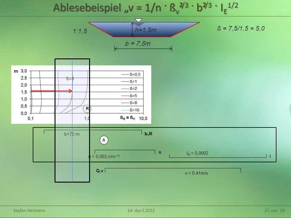 """Ablesebeispiel """"v = 1/n · ßv²/3 · b²/3 · IE1/2"""