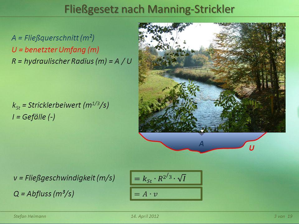 Fließgesetz nach Manning-Strickler