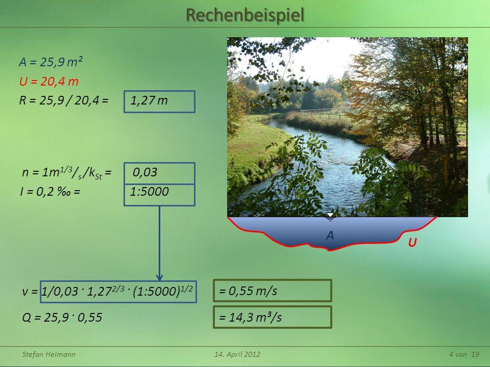 Rechenbeispiel A = 25,9 m² U = 20,4 m R = 25,9 / 20,4 = 1,27 m