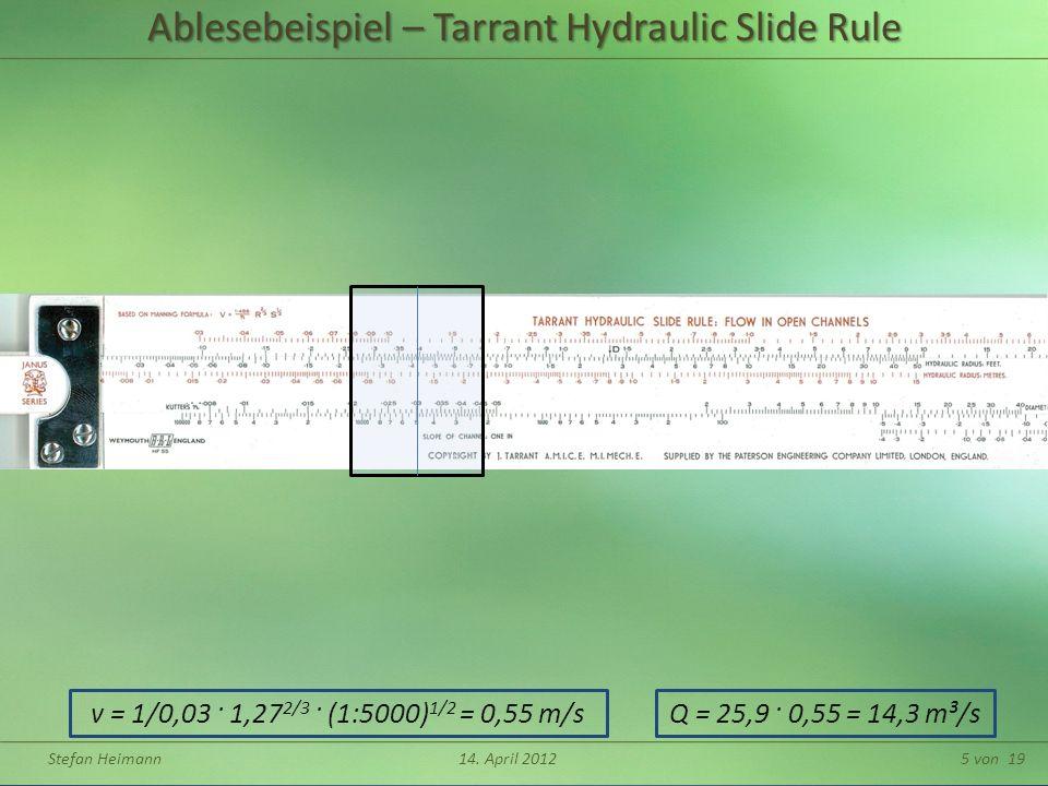 Ablesebeispiel – Tarrant Hydraulic Slide Rule