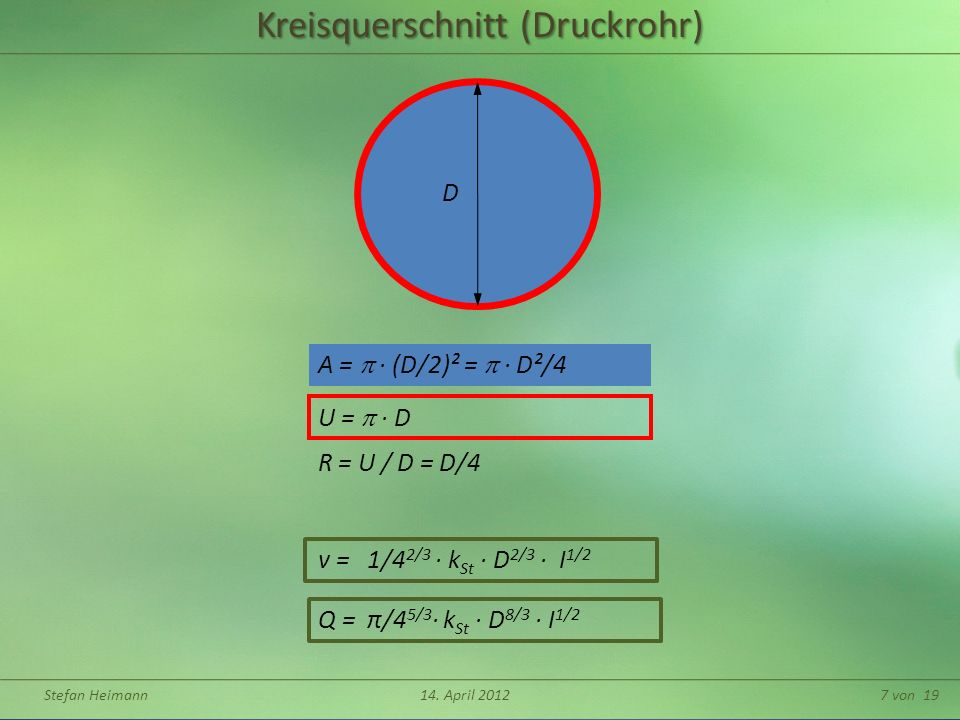 Kreisquerschnitt (Druckrohr)