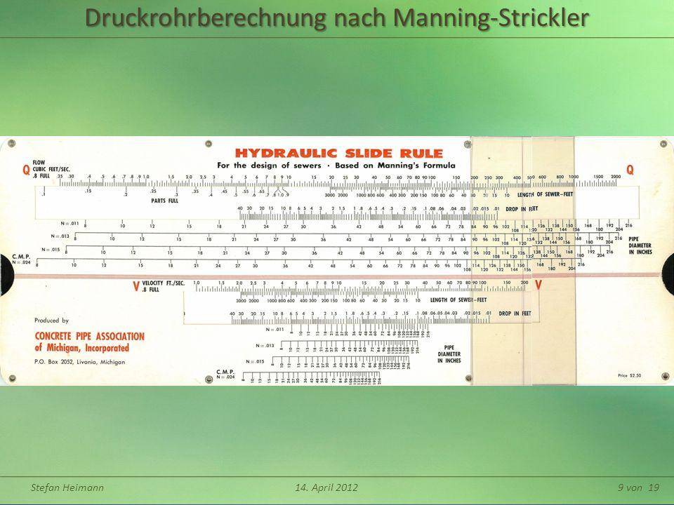Druckrohrberechnung nach Manning-Strickler