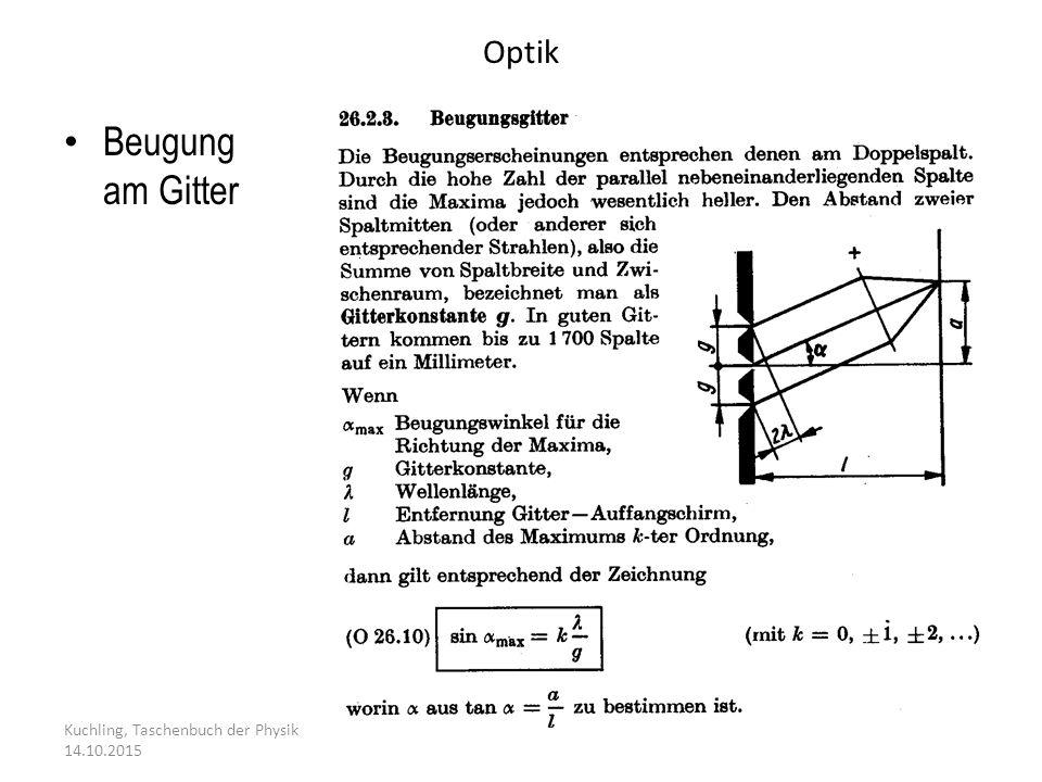 Beugung am Gitter Optik 24.04.2017 Kuchling, Taschenbuch der Physik