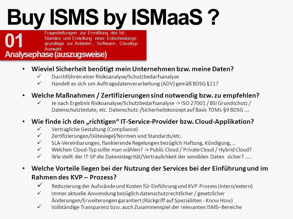 Buy ISMS by ISMaaS 01 Analysephase (auszugsweise)
