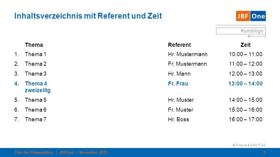 Inhaltsverzeichnis mit Referent und Zeit