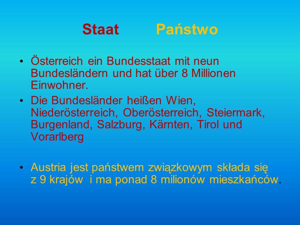 Staat Państwo Österreich ein Bundesstaat mit neun Bundesländern und hat über 8 Millionen Einwohner.