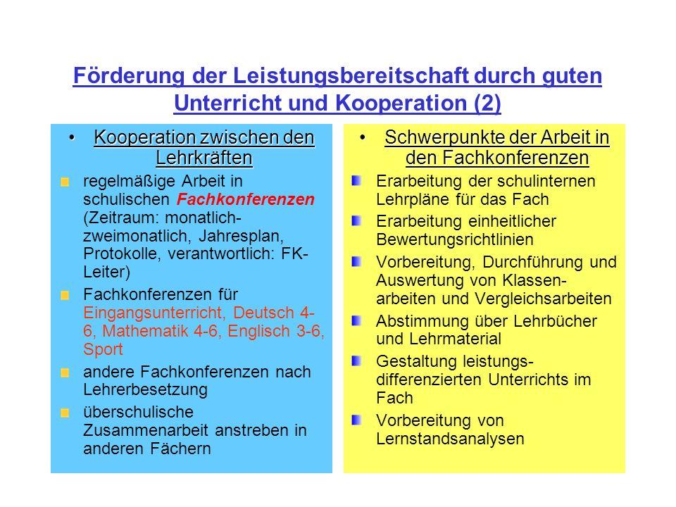 Förderung der Leistungsbereitschaft durch guten Unterricht und Kooperation (2)
