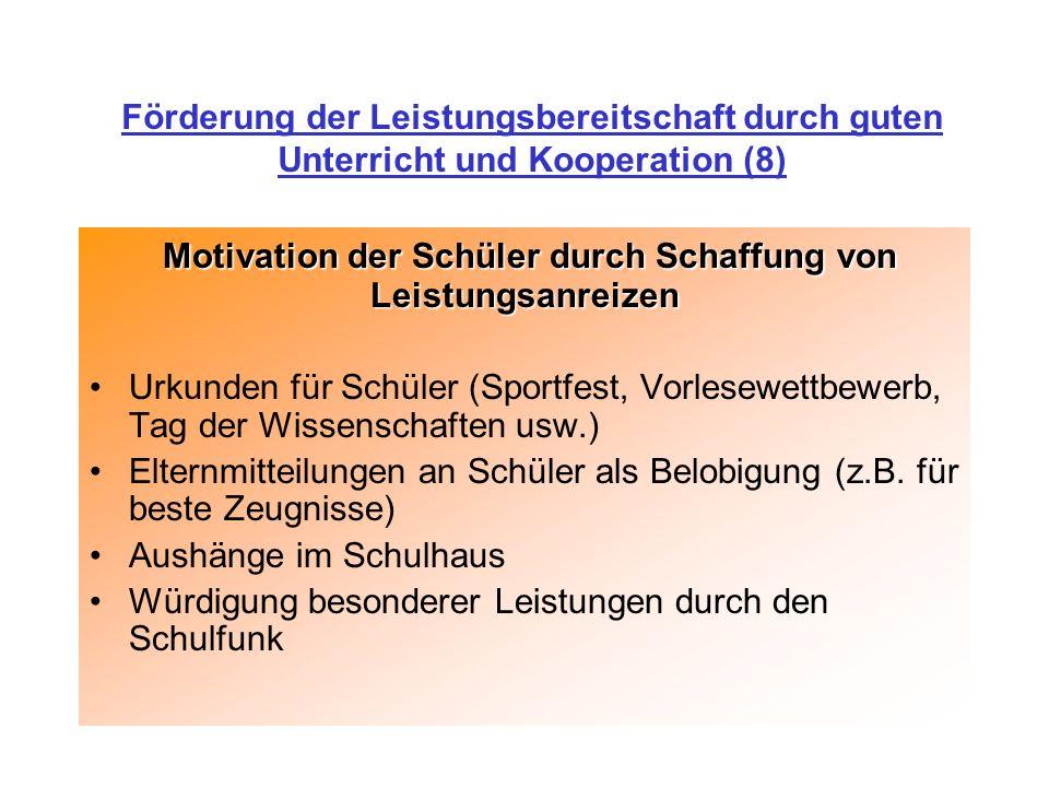 Motivation der Schüler durch Schaffung von Leistungsanreizen