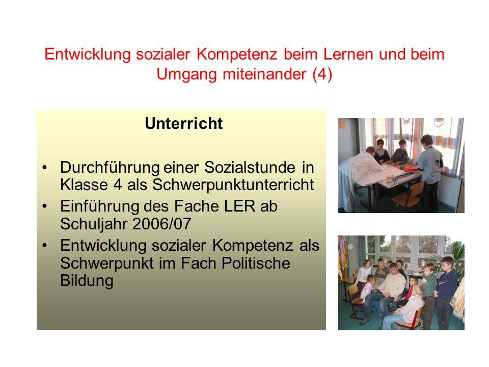 Entwicklung sozialer Kompetenz beim Lernen und beim Umgang miteinander (4)
