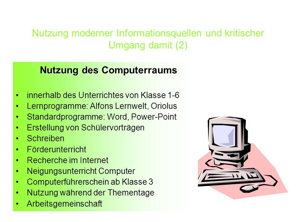Nutzung moderner Informationsquellen und kritischer Umgang damit (2)