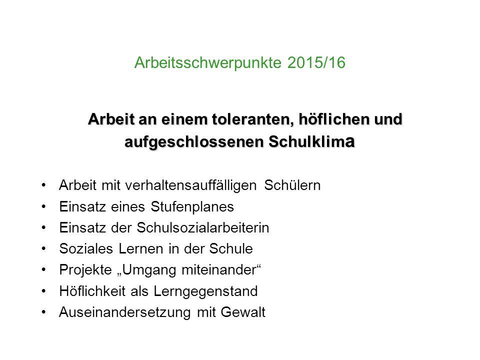 Arbeitsschwerpunkte 2015/16