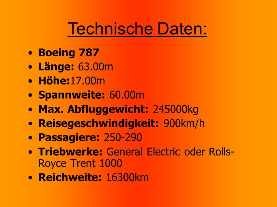 Technische Daten: Boeing 787 Länge: 63.00m Höhe:17.00m