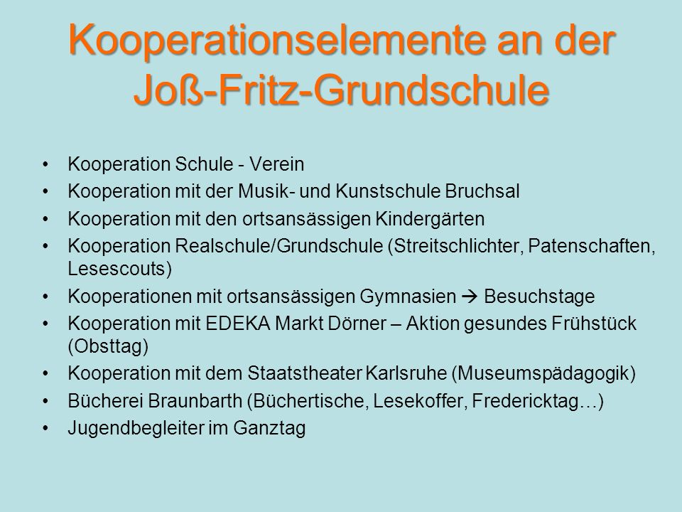 Kooperationselemente an der Joß-Fritz-Grundschule