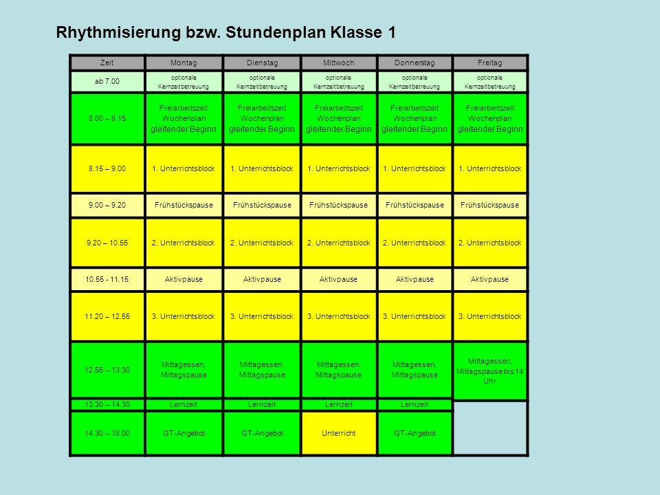 Rhythmisierung bzw. Stundenplan Klasse 1