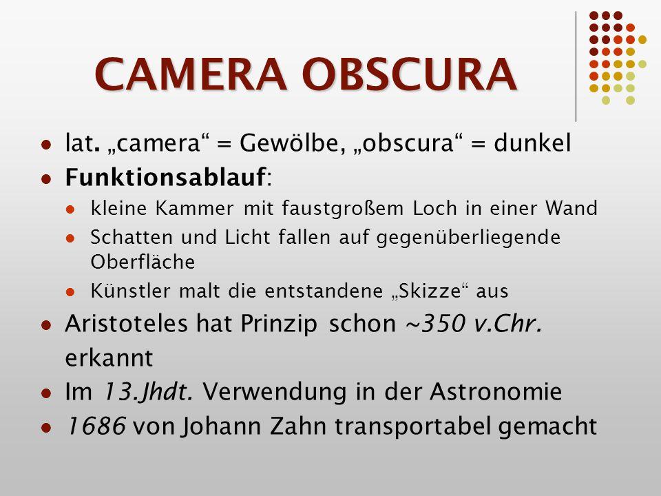 """CAMERA OBSCURA lat. """"camera = Gewölbe, """"obscura = dunkel"""