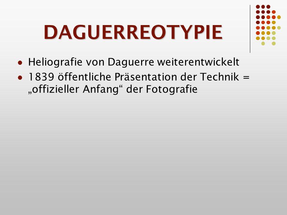 DAGUERREOTYPIE Heliografie von Daguerre weiterentwickelt