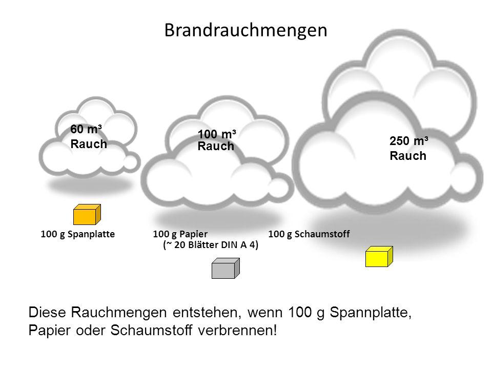 Brandrauchmengen 100 g Spanplatte 100 g Papier 100 g Schaumstoff (~ 20 Blätter DIN A 4)