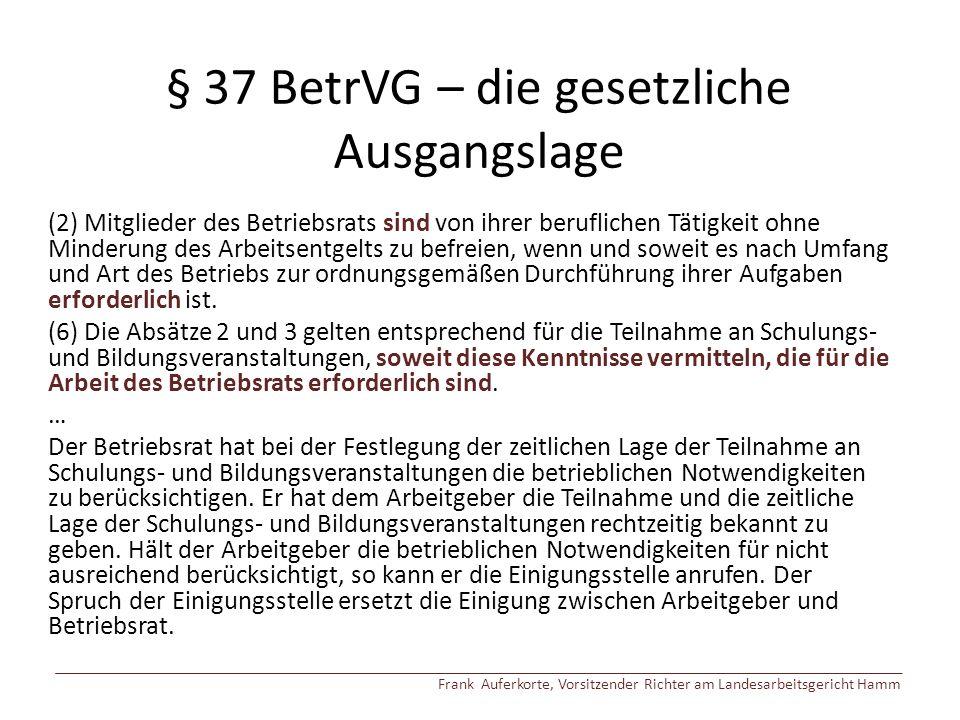 § 37 BetrVG – die gesetzliche Ausgangslage