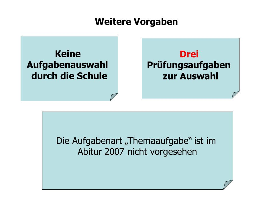 """Die Aufgabenart """"Themaaufgabe ist im Abitur 2007 nicht vorgesehen"""