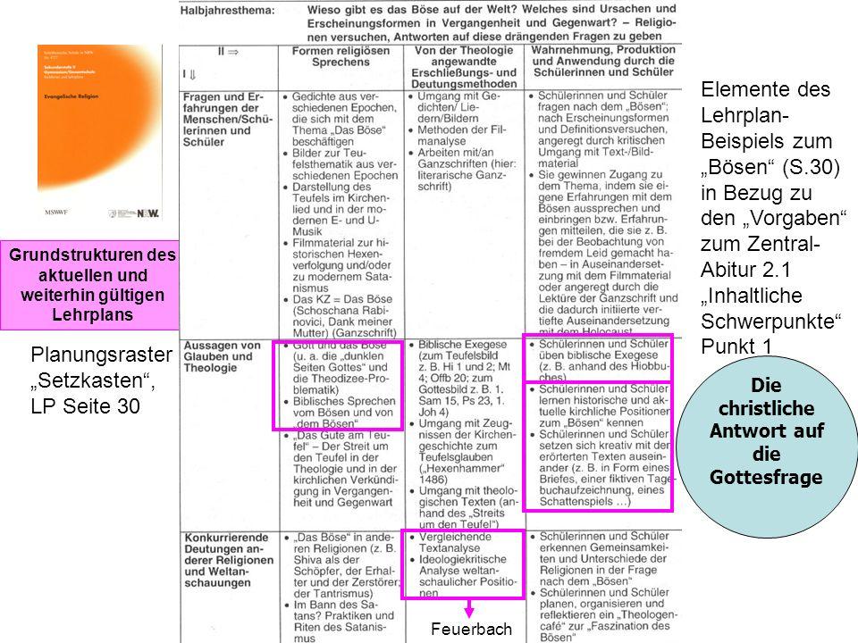 """Elemente des Lehrplan- Beispiels zum """"Bösen (S.30) in Bezug zu"""