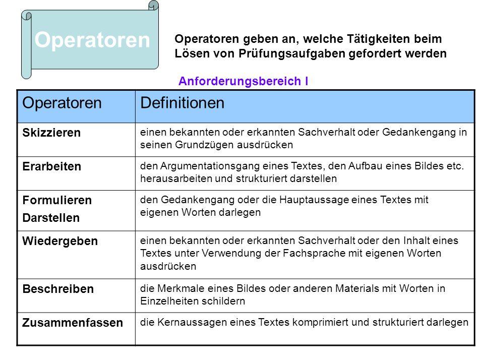 Operatoren Operatoren Definitionen Anforderungsbereich I