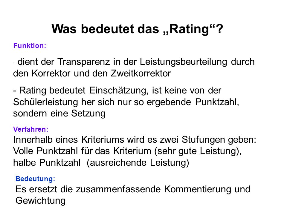 "Was bedeutet das ""Rating"