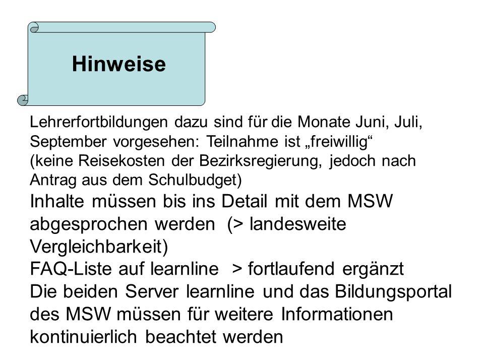 """HinweiseLehrerfortbildungen dazu sind für die Monate Juni, Juli, September vorgesehen: Teilnahme ist """"freiwillig"""