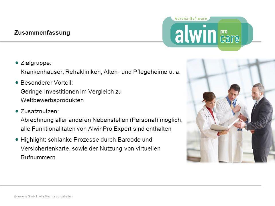 Zusammenfassung Zielgruppe: Krankenhäuser, Rehakliniken, Alten- und Pflegeheime u. a.