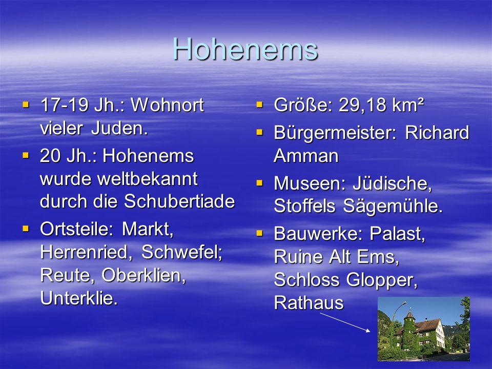 Hohenems 17-19 Jh.: Wohnort vieler Juden.