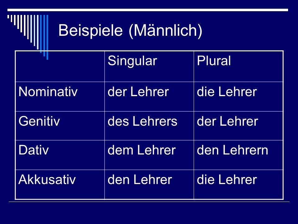 Beispiele (Männlich) Singular Plural Nominativ der Lehrer die Lehrer