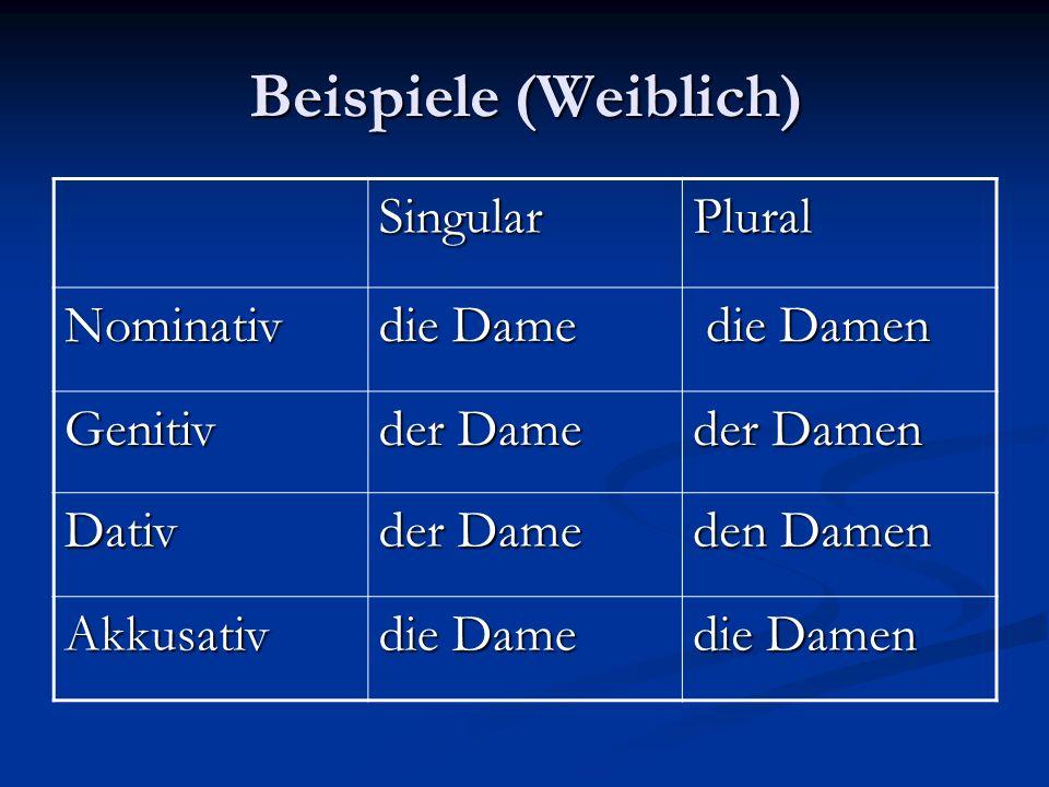 Beispiele (Weiblich) Singular Plural Nominativ die Dame die Damen