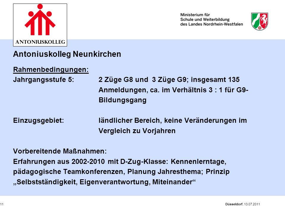 Antoniuskolleg Neunkirchen Rahmenbedingungen: Jahrgangsstufe 5: