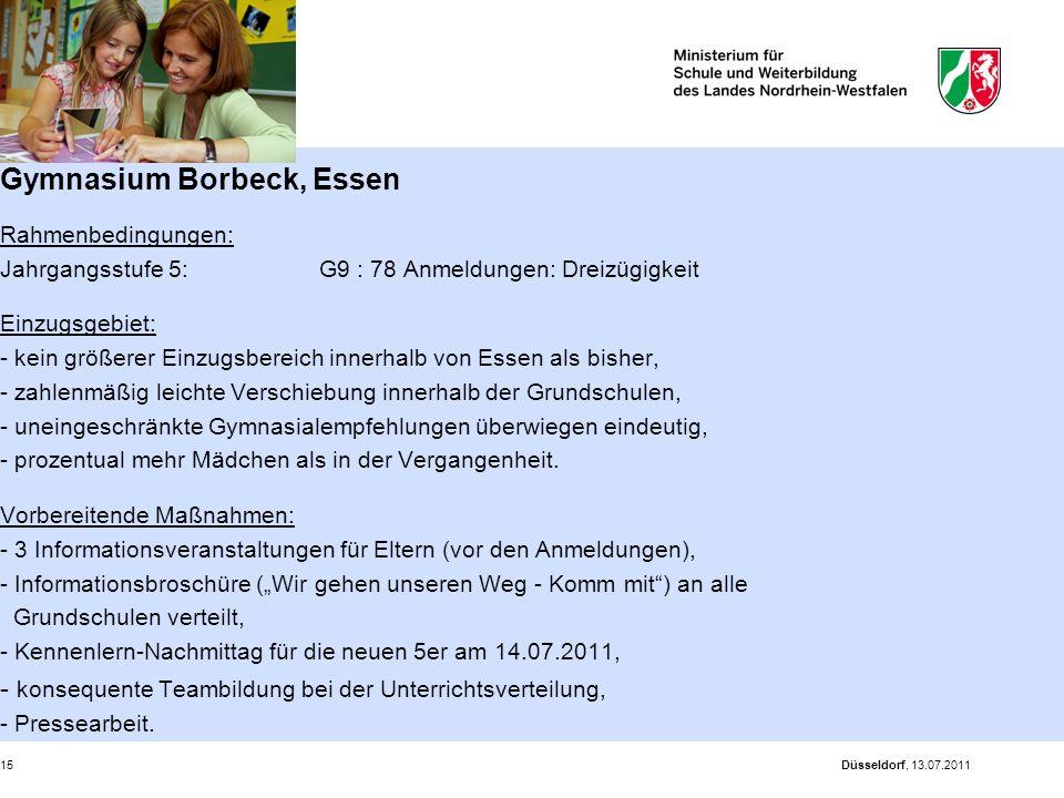 Gymnasium Borbeck, Essen Rahmenbedingungen: Jahrgangsstufe 5: