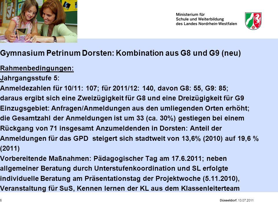 Gymnasium Petrinum Dorsten: Kombination aus G8 und G9 (neu) Rahmenbedingungen: Jahrgangsstufe 5: Anmeldezahlen für 10/11: 107; für 2011/12: 140, davon G8: 55, G9: 85; daraus ergibt sich eine Zweizügigkeit für G8 und eine Dreizügigkeit für G9 Einzugsgebiet: Anfragen/Anmeldungen aus den umliegenden Orten erhöht; die Gesamtzahl der Anmeldungen ist um 33 (ca. 30%) gestiegen bei einem Rückgang von 71 insgesamt Anzumeldenden in Dorsten: Anteil der Anmeldungen für das GPD steigert sich stadtweit von 13,6% (2010) auf 19,6 % (2011) Vorbereitende Maßnahmen: Pädagogischer Tag am 17.6.2011; neben allgemeiner Beratung durch Unterstufenkoordination und SL erfolgte individuelle Beratung am Präsentationstag der Projektwoche (5.11.2010), Veranstaltung für SuS, Kennen lernen der KL aus dem Klassenleiterteam