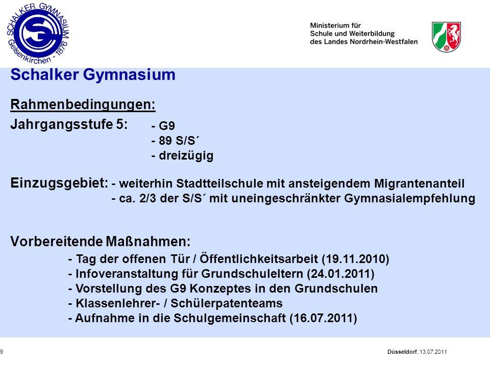 Schalker Gymnasium Rahmenbedingungen: Jahrgangsstufe 5: Einzugsgebiet: Vorbereitende Maßnahmen: