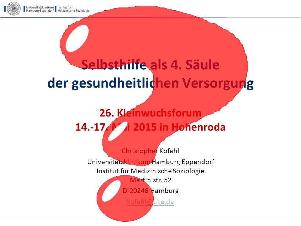 24.04.2017 Selbsthilfe als 4. Säule der gesundheitlichen Versorgung 26. Kleinwuchsforum 14.-17. Mai 2015 in Hohenroda.