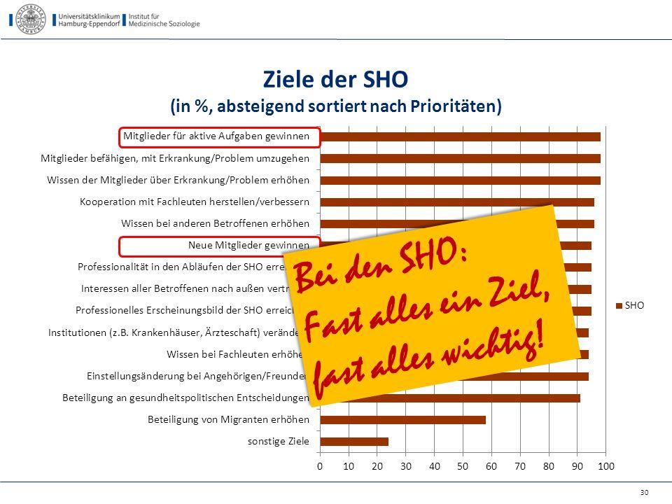 Ziele der SHO (in %, absteigend sortiert nach Prioritäten)