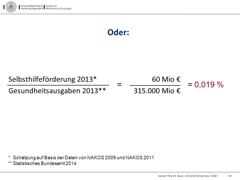 Oder: Selbsthilfeförderung 2013* 60 Mio €