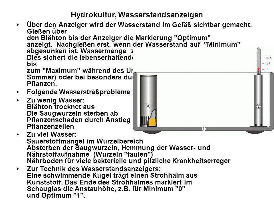 Hydrokultur, Wasserstandsanzeigen