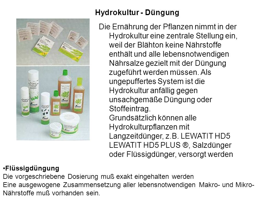 Hydrokultur - Düngung
