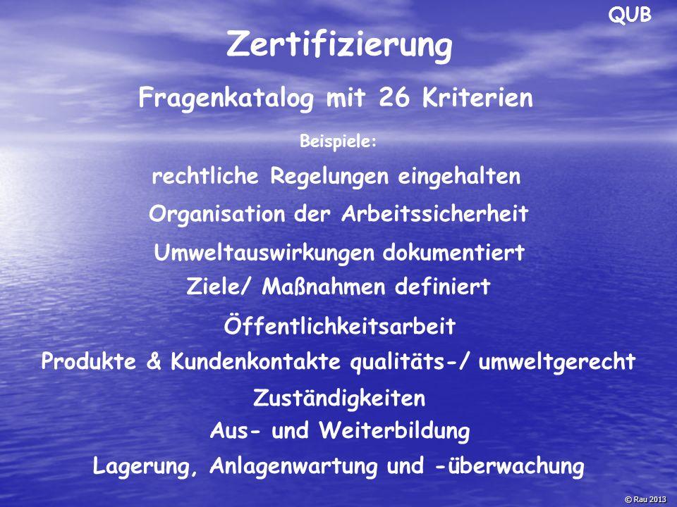 Zertifizierung Fragenkatalog mit 26 Kriterien